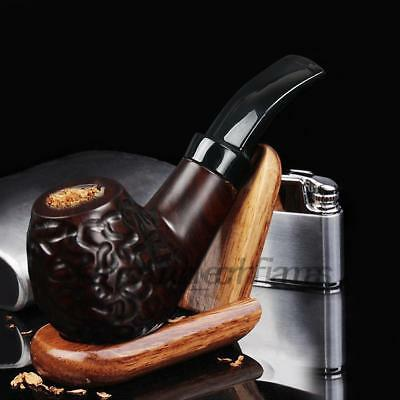 Ebony Wooden Men High-ended Smoking Pipe Tobacco Cigarettes Cigar Pipes AU