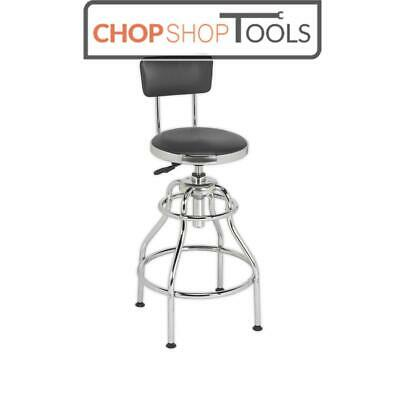 Sealey SCR14 Workshop Stool Pneumatic with Adjustable Height Swivel Seat and Back Rest