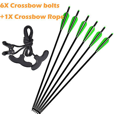 6X Crossbow Bolts Aluminum Shaft 16 inch + 1 Crossbow Rope for Outdoor Hunting