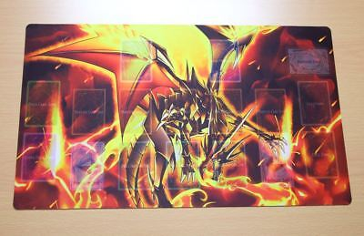 F3251+ Free Mat Bag Yugioh TCG Playmat Red-Eyes Black Flare Dragon With Zones