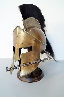 Medieval 300 Movie King Leonidas Roman Spartan Helmet With Black Plume Gift Item