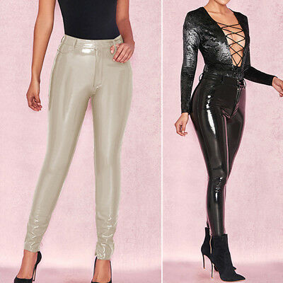 b169bfe047ce9 Womens PU Leather Wet look High Waist Slim Bodycon Sexy Pants Leggings  Trousers