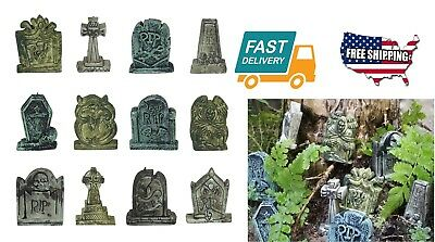 12 Set Garden Outdoor Home Halloween Decor Decoration Tool Miniature Tombstones