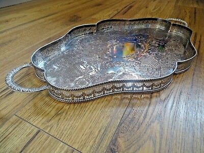 Vintage silver plate chased gallery serpentine shaped serving tray by Viners