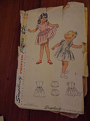 VTG SIMPLICITY LITTLE GIRLS SIZE 4 SEWING PTN 2418 Childs Dress, Cut, Complete