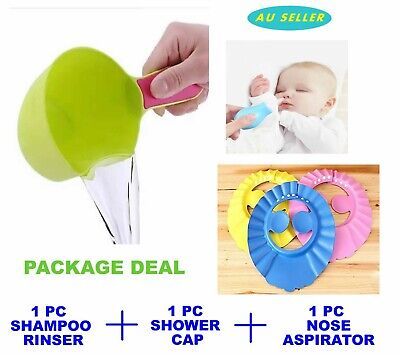 (HOT DEAL)With Ear Cover Adjustable Kid Baby Shower Bathing Cap Washing Hair Hat