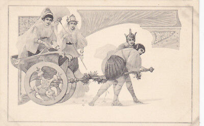 M.M. VIENNA : Jesters pull girl in cart , Art Nouveau , 1901-07 ; TUCK 4019