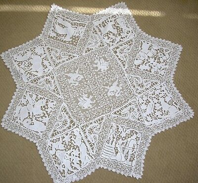 Rare 19Th C.  Lace & Cut Work Table Topper Depicting 8 Different Eaesop's Fables