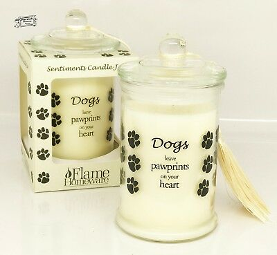 Dog Memorial Candle keep sake Dogs leave paw prints on your heart-Ideal gift box