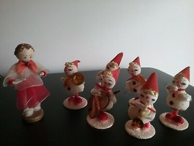 Vintage Old Christmas  Musician Knomes ~Mica, Pipe Cleaner With Instruments
