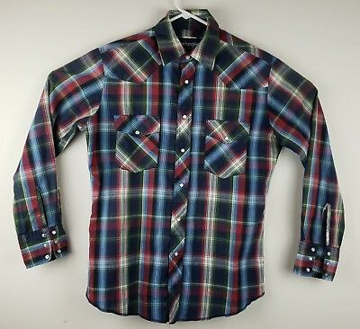 Levis Plaid Pearl Snap Western Shirt Mens M Medium Regular Fit Red White Blue Shrink-Proof Clothing, Shoes & Accessories Casual Button-down Shirts