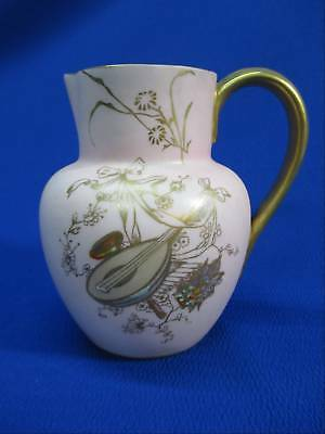 Antique Royal Worcester Pink & Gold Music Themed Small Pitcher