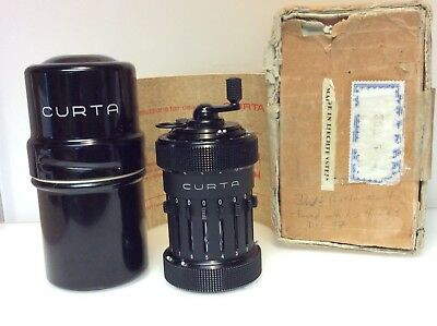 Vintage Curta Type 1 Calculator With Original Instruction Manual Mint Condition
