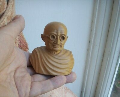 Old Vintage Indian Carved Wooden Bust of Mahatma Ghandi Figure India Political
