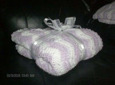 a beautiful lilac and white hand crochet babies shawl/cot blanket