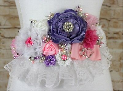 Baby Shower Maternity Sash, Baby Girl Embellished Shabby Belt Sash Pink/Purple