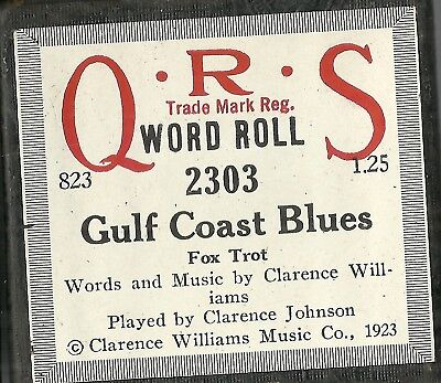 Gulf Coast Blues, played by Clarence Johnson, QRS 2303 Piano Roll Original