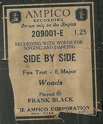 Side By Side, played by Frank Black, Ampico 209001-E Piano Roll Original