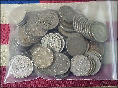 Great Britain Lot of 100 Sixpence Coins Six Pence 6 P