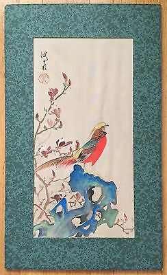 """Antique Japanese Original Color Painting On Silk """"bird And Rock"""", Signed 19Th C"""