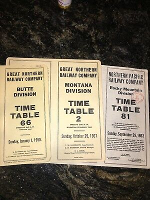 1950 Great Northern Railway Employee Time table #66 Butte Division 81 & 2 Lot
