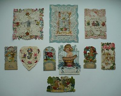 Group Of 10 Old Valentine Cards In Good Or Better Condition