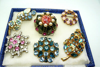 Mixed Job Lot Collection Of Vintage Rhinestone Brooches Pins Various Eras