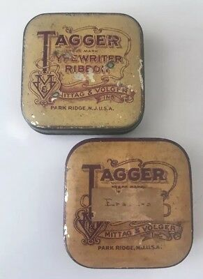 Vintage Tagger Typewriter Ribbon Tin Lot Of 2 Antique Advertising