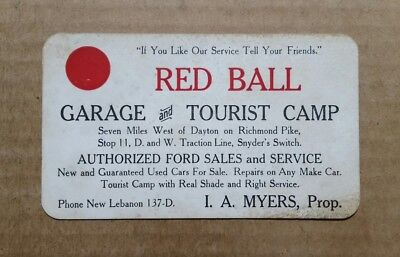 Red Ball Garage & Tourist Camp,New Lebanon,Ohio,Trade Card,1900's-1910's