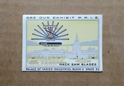 Milford Hack Saw Blades,Pan-Pacific Expo,San Francisco,CA.,Poster Stamp,1915