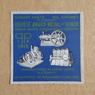 August Mietz Oil Engines,Pan-Pacific Expo,San Francisco,CA.,Poster Stamp,1915
