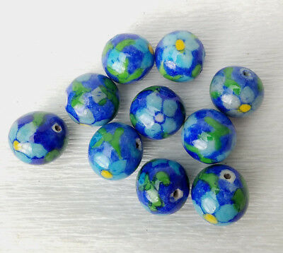VTG NOS Ceramic CobaltBlue Turquoise Yellow Painted Flower Round BEADS 18mm 10PC