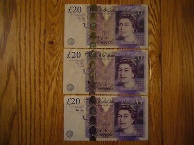 60 Great Britain (3 X 20) Pound Banknotes. For Your Vacation or For Collecting.