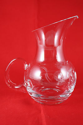 """Lenox 5"""" Etched Glass Pitcher Creamer Handled Hand Blown USA"""
