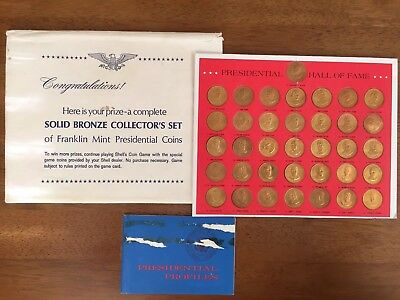 Shell Oil Franklin Mint Presidential Hall of Fame Bronze Prize Coins 1968 Tokens