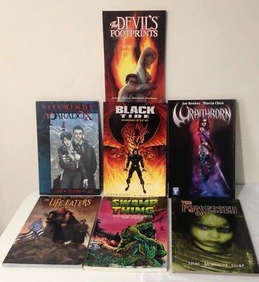 7 Graphic Novels inc Life Eaters, Darkminds, Wraithborn, Swamp Thing, All New