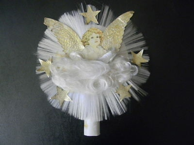 Vintage Spun Glass Angel w Foil Wings & Stars Christmas Tree Topper
