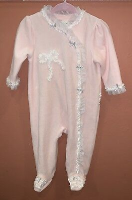 Lovely Little Me 9 Months Baby Girls Pink Ruffle Footie Pajama NWOT