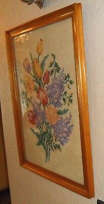 Large Beautiful Vintage Chic Glass Framed Cross Stitched Lilacs Tulips Picture