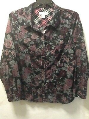 Christopher & Banks Womens Button Down Shirt Size Xl Black Floral And Plaid