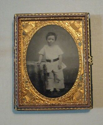 Antique Ambrotype Young Child in Studio Setting