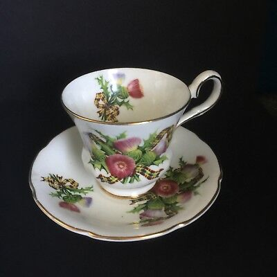 Royal Grafton Floral Gilding Bone China Teacup Saucer Vintage Rare Shabby Chic