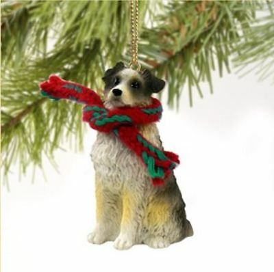 AUSTRALIAN SHEPHERD DOG DOCKED CHRISTMAS ORNAMENT HOLIDAY Figurine Scarf BLUE