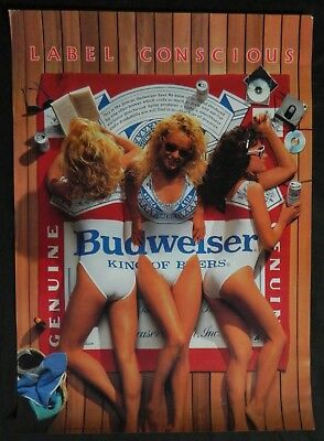 ADVERTISING POSTER - ORIGINAL -  BUDWEISER - 1980's