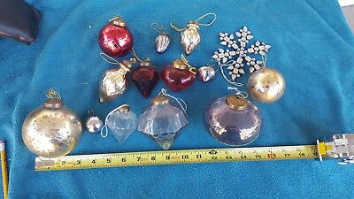antique vintage mercury glass christmas ornaments lot of 13 rare blown glass - Blown Glass Christmas Ornaments