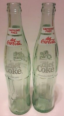 Diet Coca Cola Caffeine Free Green Glass Bottles (2)