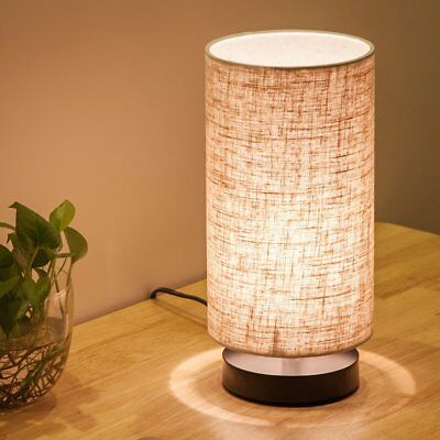 Fabric Wooden Table Lamp Bedside Nightstand Desk Lamp for Bedroom Living Room