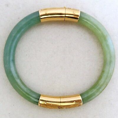 Vintage Chinese 14K Yellow Gold Green JADEITE Jade Bangle Bracelet  (29.2 grams)