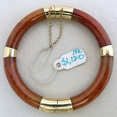 "Chinese 14K Gold, Brick Red & Orange JADEITE Jade Bangle Bracelet  (31.9g, 6.4"")"