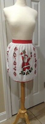 Vintage Half Apron pleated Terrycloth Christmas Santa Claus bell holly white red